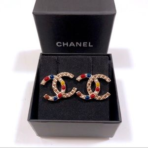 Chanel XL Multi Color Stones CC Logo Earrings GHW